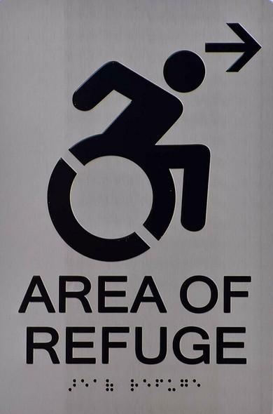 ada Area of Refuge Sign silver