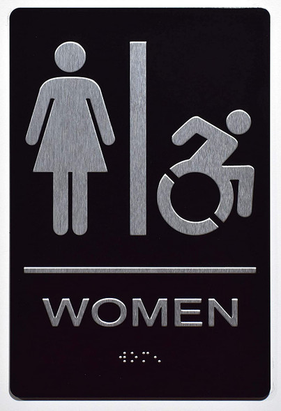 Women ACCESSIBLE Restroom Sign -Tactile Signs  The Sensation line Ada sign