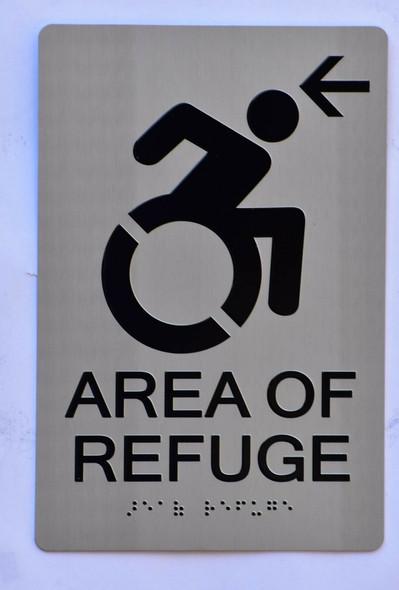 Area of Refuge Sign Left Arrow - The Sensation line -Tactile Signs  Ada sign