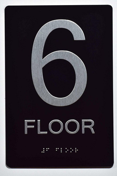 Floor Number Sign -Tactile Signs 6TH Floor Sign The Sensation line Ada sign