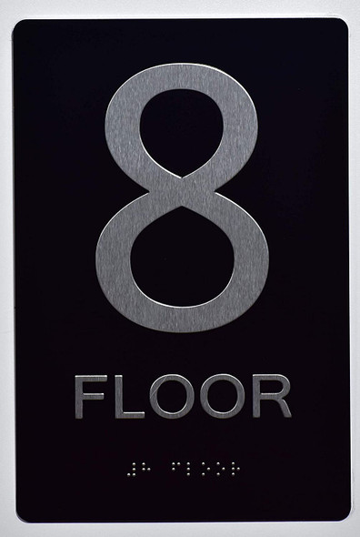 Floor Number Sign -Tactile Signs 8TH Floor Sign The Sensation line Ada sign