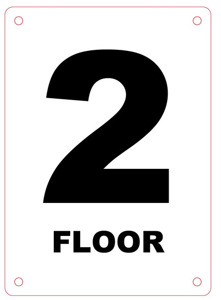 HPD NYC FLOOR NUMBER 2 SIGN - 2ND FLOOR SIGN