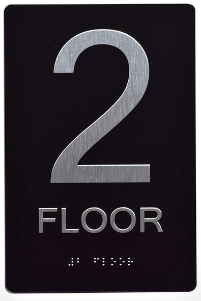Floor Number Sign -Tactile Signs 2ND Floor Sign The Sensation line Ada sign
