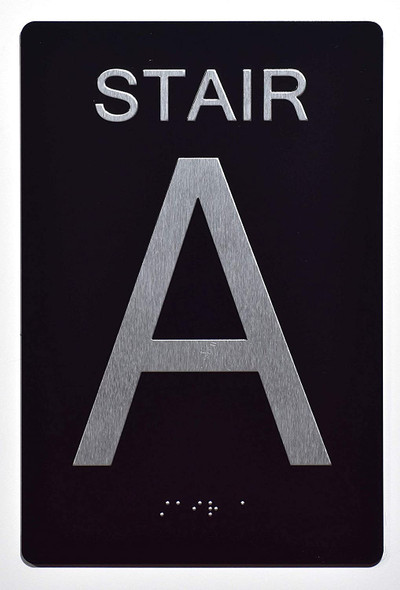 Stair A Sign -Stair Number Sign Black