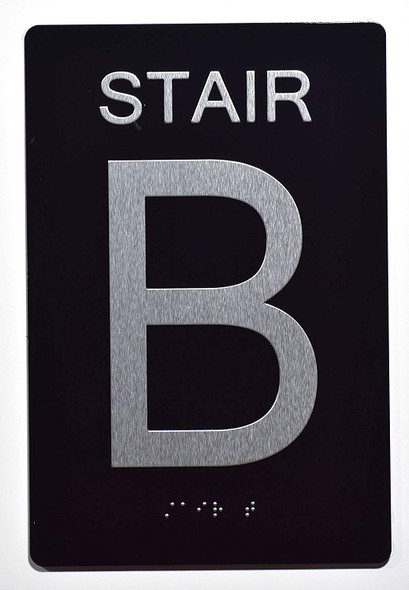 Stair b Sign -Stair Number Sign Black