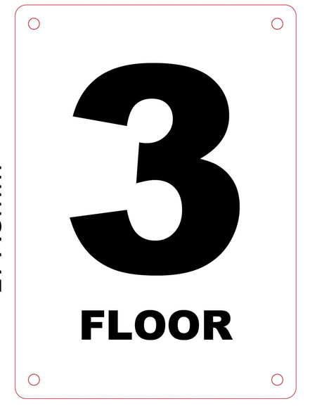 HPD NYC FLOOR NUMBER 3 SIGN - 3RD FLOOR SIGN