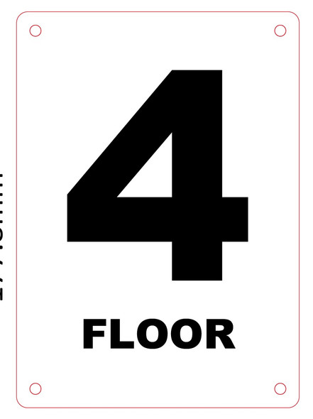 NYC HPD 4TH FLOOR SIGN - FLOOR NUMBER FOUR SIGN