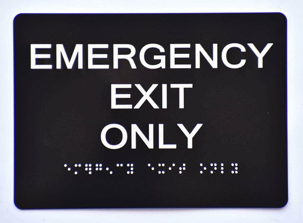 Emergency EXIT ONLY Sign   The Sensation line -Tactile Signs  Ada sign