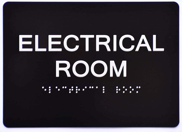 ada Electrical Room Sign Black