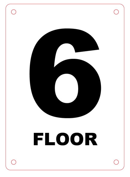 NYC HPD FLOOR NUMBER SIX SIGN, 6TH FLOOR SIGN