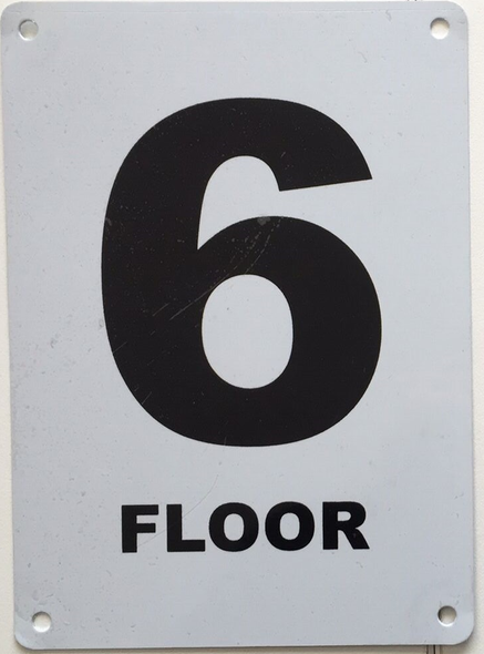 HPD FLOOR NUMBER SIX SIGN, 6TH FLOOR SIGN
