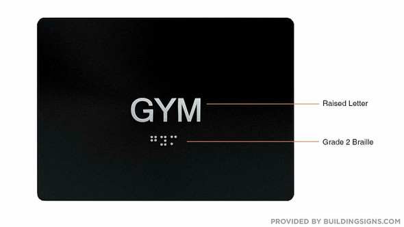 Gym Door Sign -Tactile Signs Tactile Signs    The Sensation line Ada sign