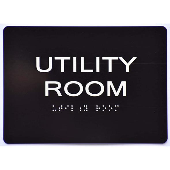 Utility Room Sign -Black,