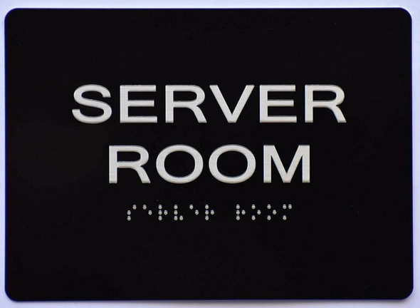 Server Room Sign -Black,