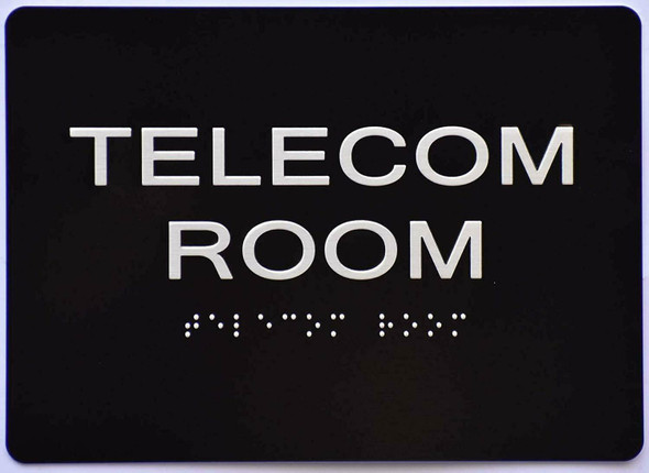 Telecom Room Sign -Black,