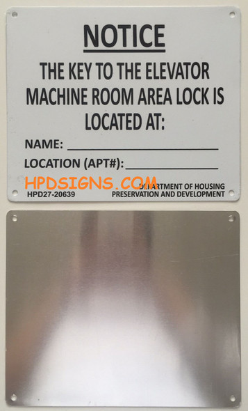 KEY TO ELEVATOR MACHINE ROOM sign (WHITE,Aluminium)