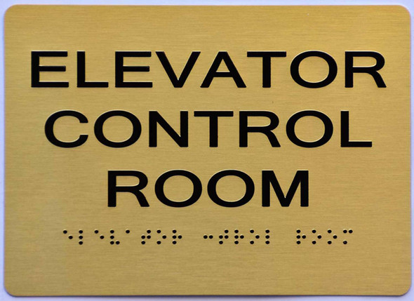 Elevator Control Room Sign -Gold,