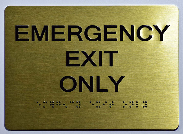 Emergency EXIT ONLY Sign -Tactile Signs Tactile Signs  The Sensation line Ada sign