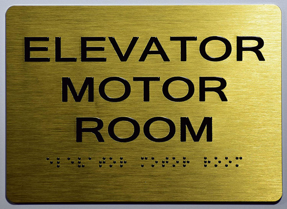Elevator Motor Room Sign-Gold,