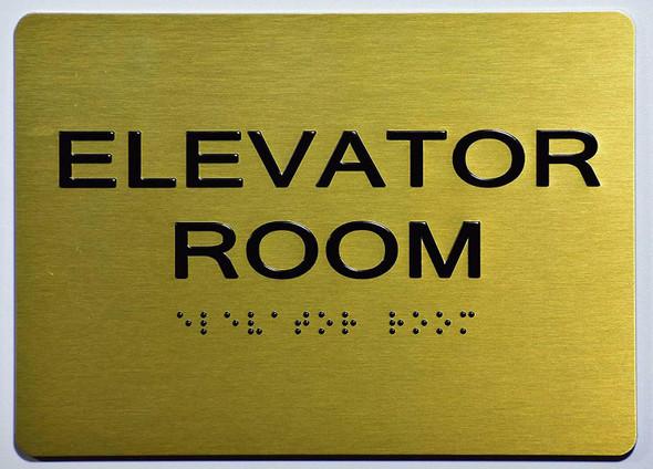 Elevator Room Sign-Gold ,