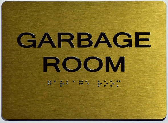 ada Garbage Room Sign gold