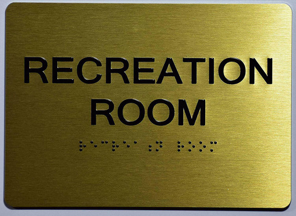 Recreation Room Sign- Gold,
