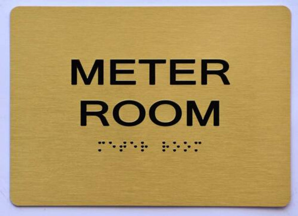 Meter Room Sign- Gold,