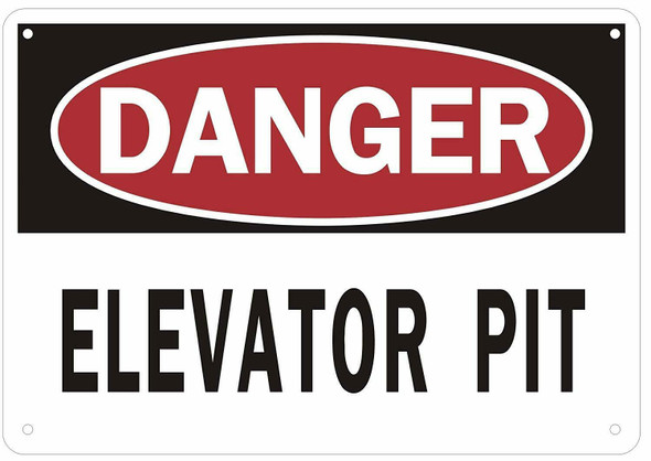 Danger Elevator Pit Sign (Aluminium Reflective, White)