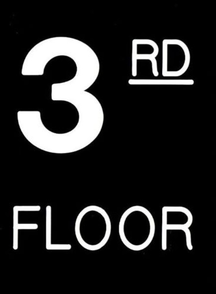 Floor number Sign- Three (3) Sign Engraved (PLASTIC)