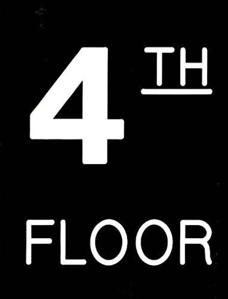 Floor number Sign - Four (4) Sign Engraved (PLASTIC)