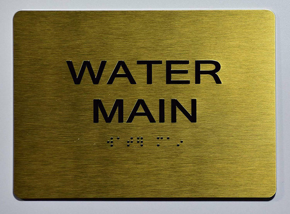 Water Main Sign - Gold,