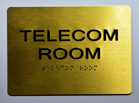Telecom Room Sign- Gold,