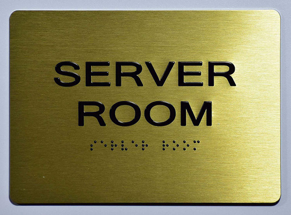 Server Room Sign - Gold,