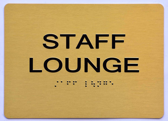 Staff Lounge Sign - Gold,