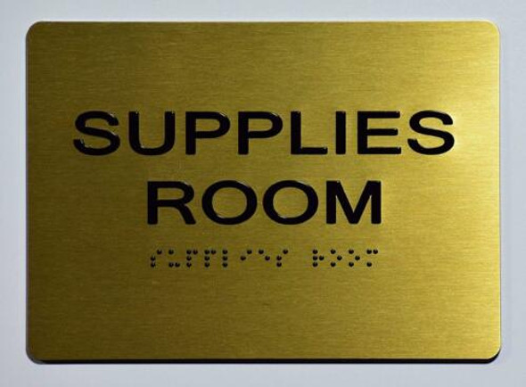 Supplies Room Sign - Gold,