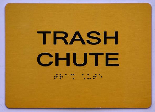 Trash Chute Sign - Gold,