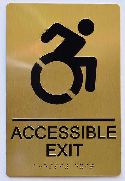 ACCESSIBLE EXIT Sign - Gold,