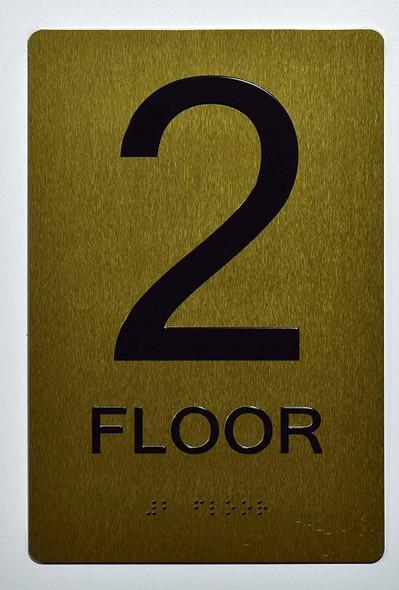 Floor 2 Sign- 2ND Floor Sign- Gold,