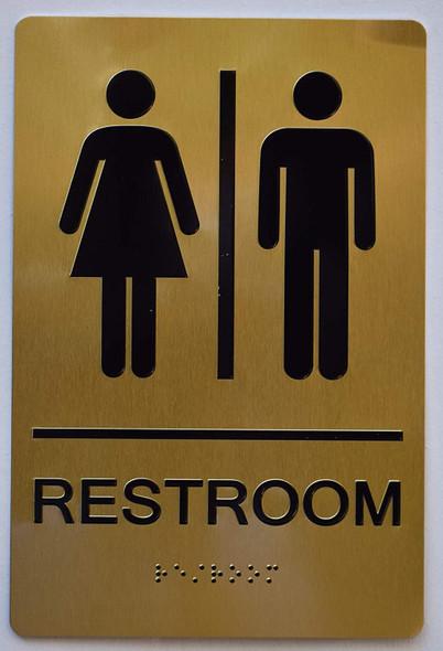 Unisex Restroom Gold Sign ,