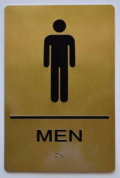 Men Restroom Gold Sign ,