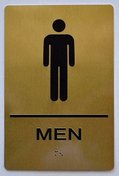 Men Restroom Gold Sign