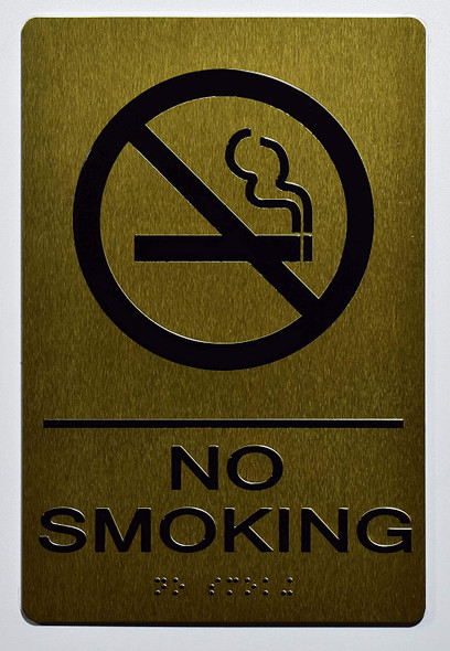 NO Smoking Gold Sign ,