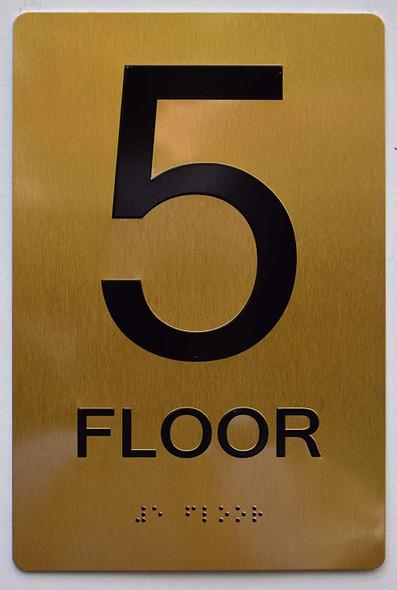 Floor 5 Sign- 5th Floor Sign- Gold,