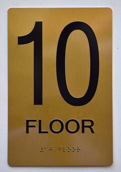 Floor 10 Sign- 10th Floor Sign- Gold,