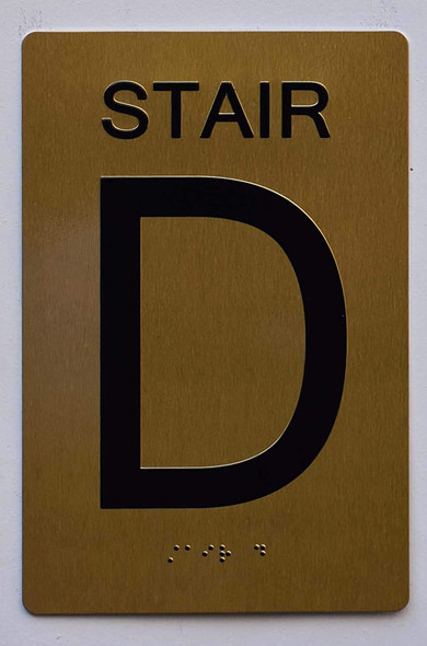 Stair D Sign- Gold ,