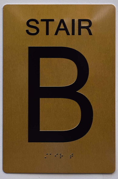 Stair B Sign- Gold,
