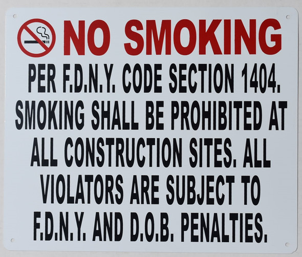 dob no smoking per fdny code section 1404