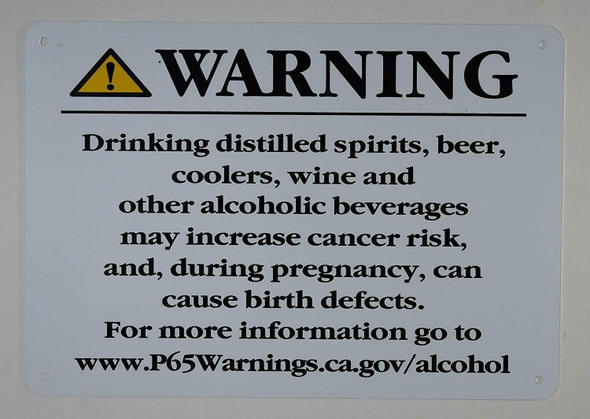 California Prop5 Alcohol Warning Sign-The Official Sign