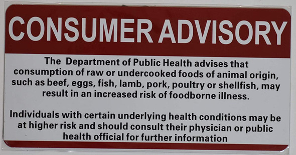 Restaurant Consumer Advisory Sign