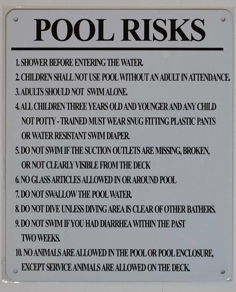 Pool Risks Sign